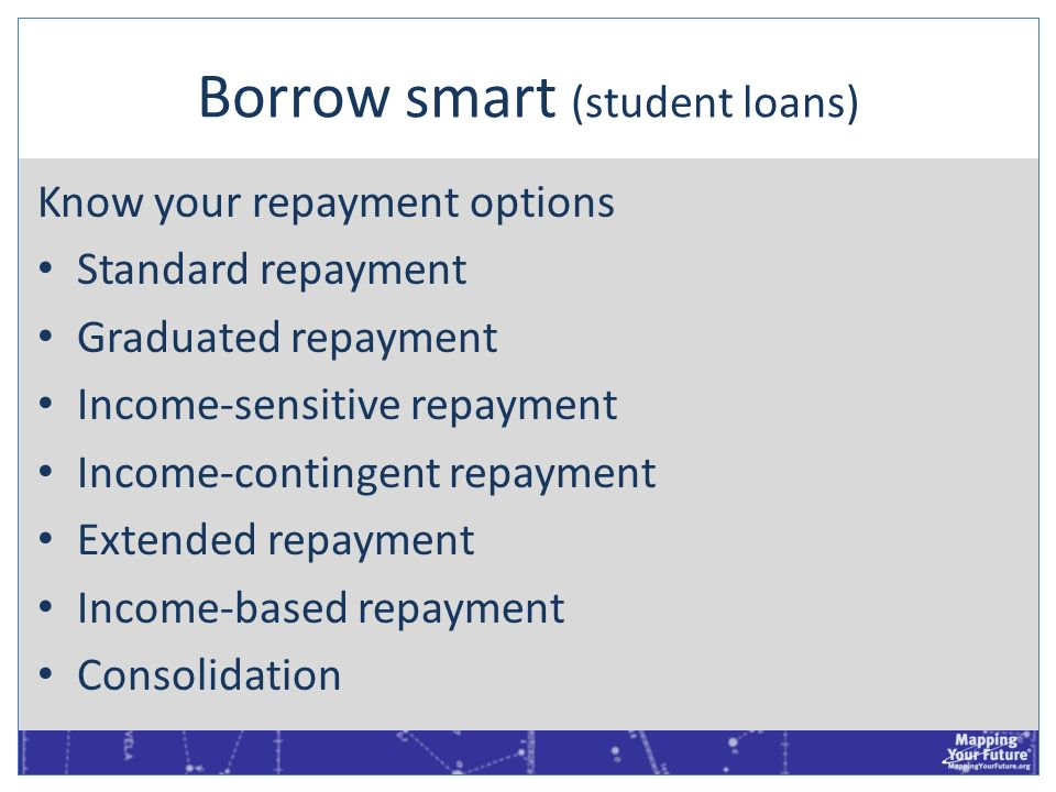 Borrow smart (student loans) Know your repayment options Standard repayment Graduated repayment Income-sensitive repayment Income-contingent repayment