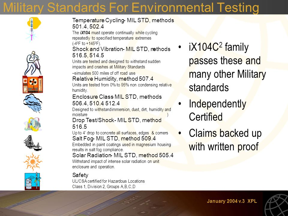 January 2004 v.3 XPL Military Standards For Environmental Testing iX104C 2 family passes these and many other Military standards Independently Certified Claims backed up with written proof