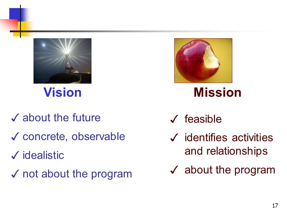 17 about the future concrete, observable idealistic not about the program feasible identifies activities and relationships about the program VisionMission