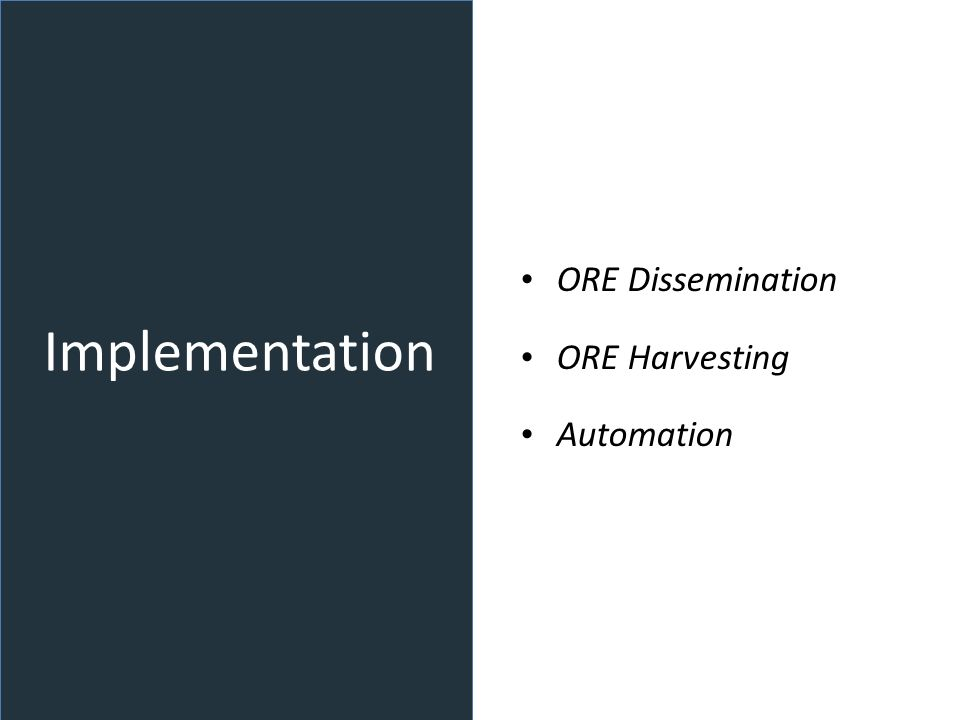 Implementation ORE Dissemination ORE Harvesting Automation
