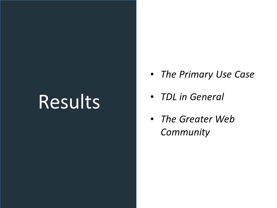 Results The Primary Use Case TDL in General The Greater Web Community
