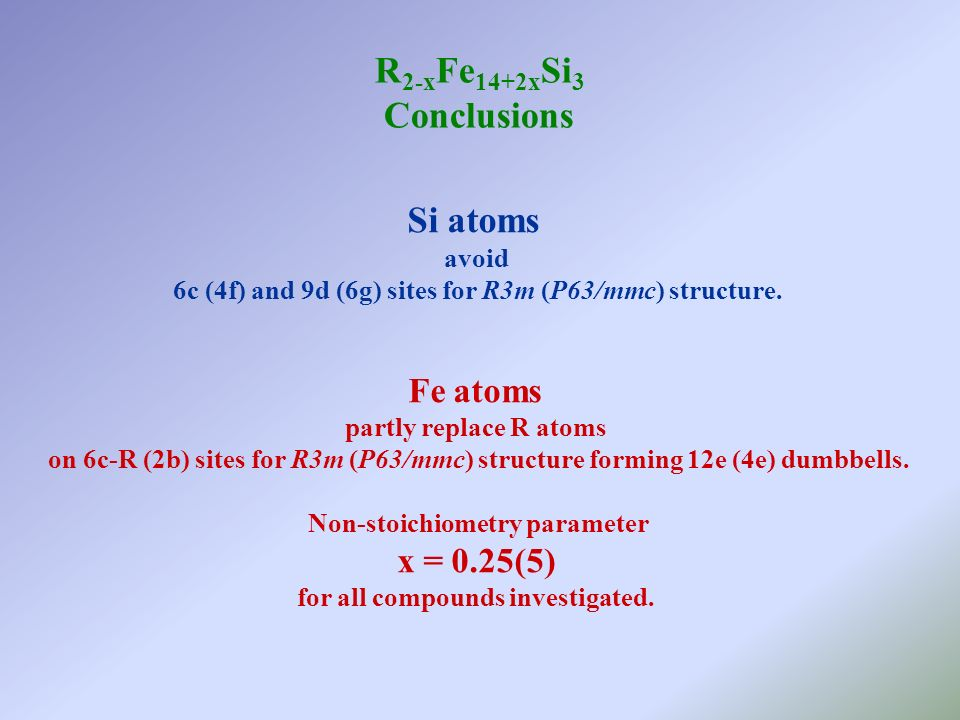 R 2-x Fe 14+2x Si 3 Conclusions Si atoms avoid 6c (4f) and 9d (6g) sites for R3m (P63/mmc) structure. Fe atoms partly replace R atoms on 6c-R (2b) sit