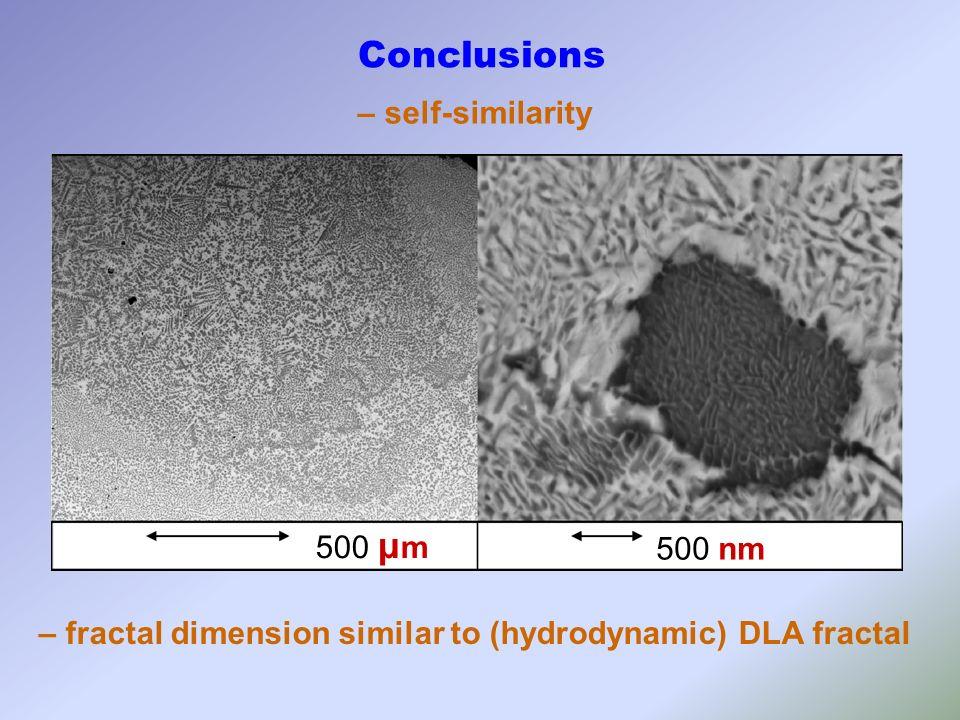 500 μ m 500 nm Conclusions – self-similarity – fractal dimension similar to (hydrodynamic) DLA fractal