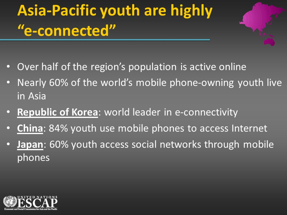 Over half of the regions population is active online Nearly 60% of the worlds mobile phone-owning youth live in Asia Republic of Korea: world leader i
