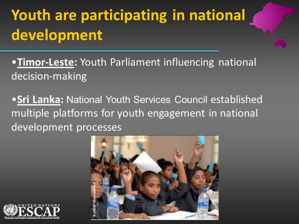 Youth are participating in national development Timor-Leste: Youth Parliament influencing national decision-making Sri Lanka: National Youth Services