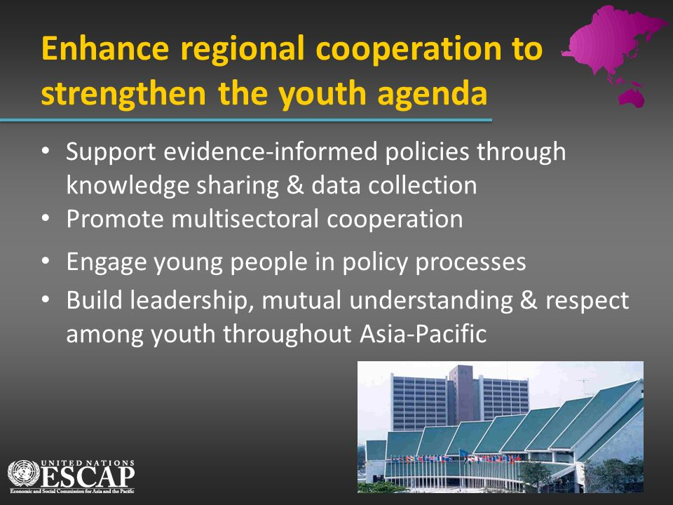 Support evidence-informed policies through knowledge sharing & data collection Promote multisectoral cooperation Engage young people in policy process