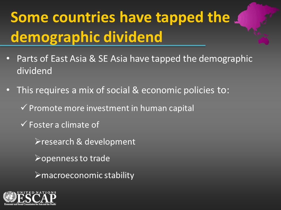 Some countries have tapped the demographic dividend Parts of East Asia & SE Asia have tapped the demographic dividend This requires a mix of social &