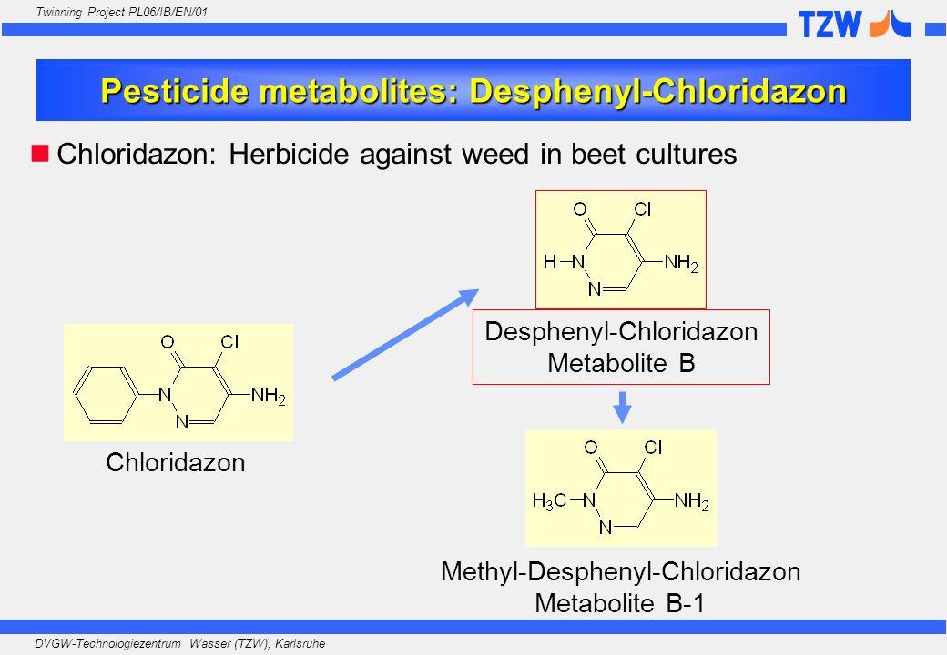 DVGW-Technologiezentrum Wasser (TZW), Karlsruhe Twinning Project PL06/IB/EN/01 Pesticide metabolites: Desphenyl-Chloridazon Chloridazon Desphenyl-Chlo