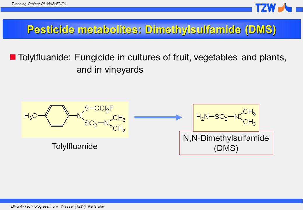 DVGW-Technologiezentrum Wasser (TZW), Karlsruhe Twinning Project PL06/IB/EN/01 Pesticide metabolites: Dimethylsulfamide (DMS) Tolylfluanide: Fungicide