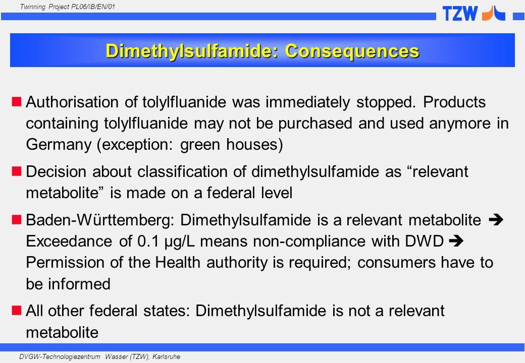 DVGW-Technologiezentrum Wasser (TZW), Karlsruhe Twinning Project PL06/IB/EN/01 Dimethylsulfamide: Consequences Authorisation of tolylfluanide was imme