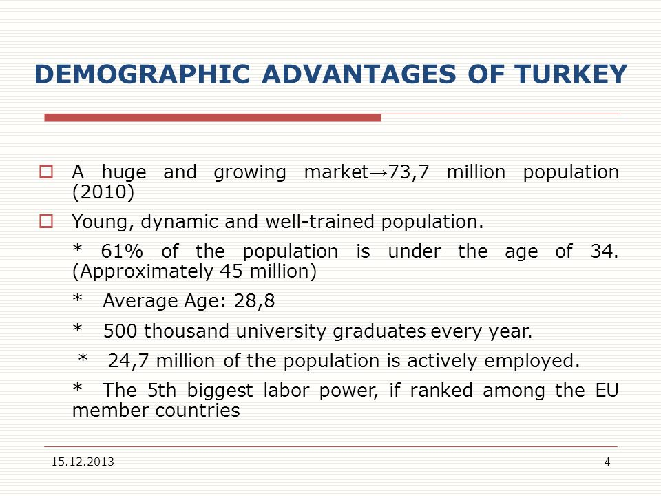 DEMOGRAPHIC ADVANTAGES OF TURKEY A huge and growing market 73,7 million population (2010) Young, dynamic and well-trained population. * 61% of the pop