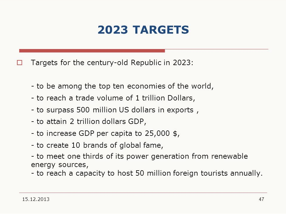 2023 TARGETS Targets for the century-old Republic in 2023: - to be among the top ten economies of the world, - to reach a trade volume of 1 trillion D