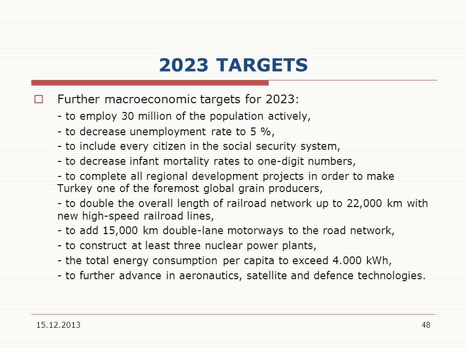 2023 TARGETS Further macroeconomic targets for 2023: - to employ 30 million of the population actively, - to decrease unemployment rate to 5 %, - to i