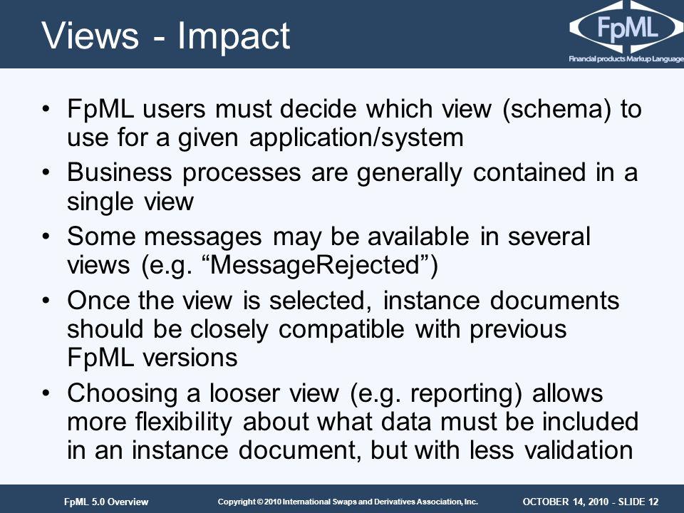 OCTOBER 14, 2010 - SLIDE 12 Copyright © 2010 International Swaps and Derivatives Association, Inc. FpML 5.0 Overview Views - Impact FpML users must de