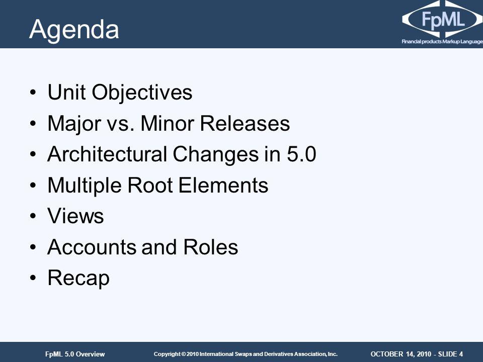 OCTOBER 14, 2010 - SLIDE 4 Copyright © 2010 International Swaps and Derivatives Association, Inc. FpML 5.0 Overview Agenda Unit Objectives Major vs. M