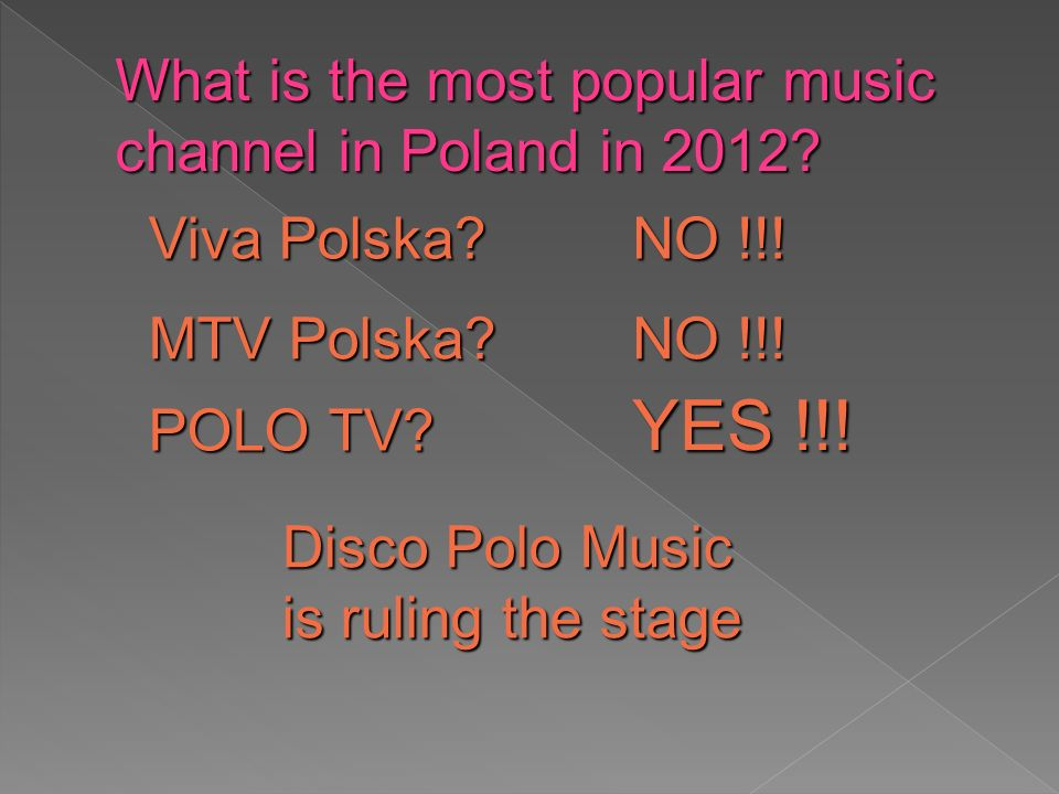 NO !!. MTV Polska. Viva Polska. What is the most popular music channel in Poland in 2012.