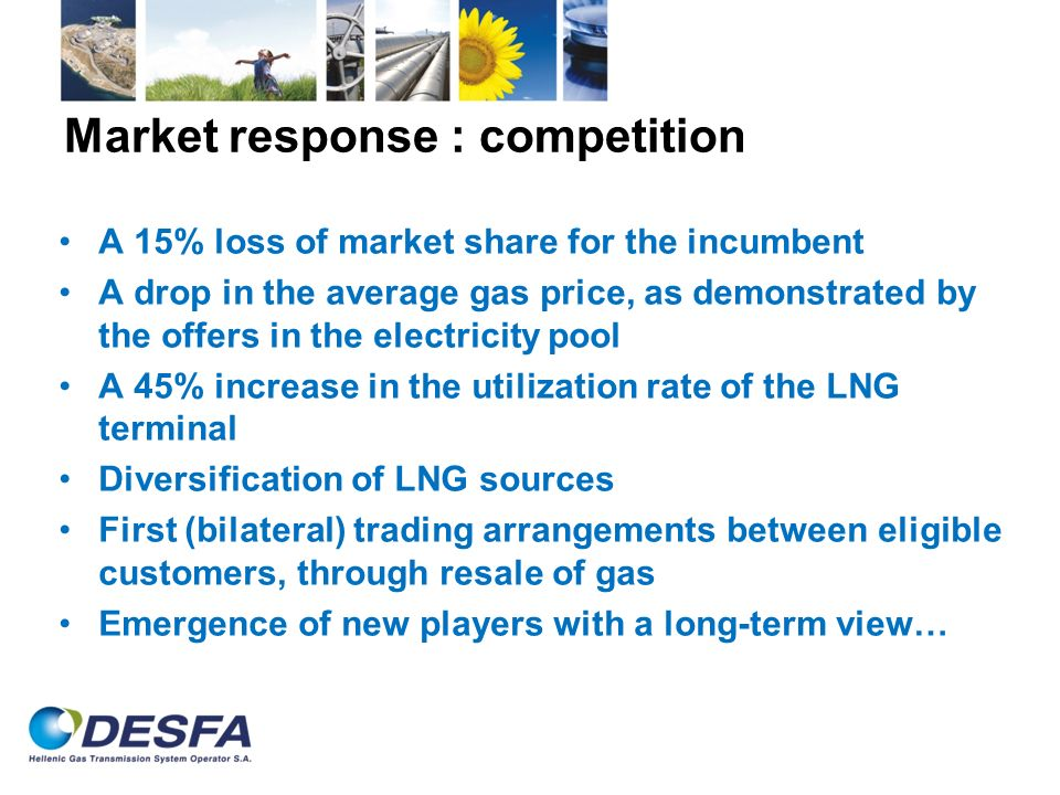 Market response : competition A 15% loss of market share for the incumbent A drop in the average gas price, as demonstrated by the offers in the elect