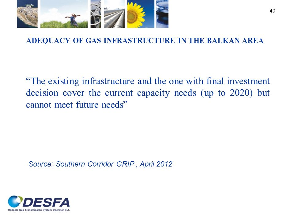ADEQUACY OF GAS INFRASTRUCTURE IN THE BALKAN AREA The existing infrastructure and the one with final investment decision cover the current capacity ne