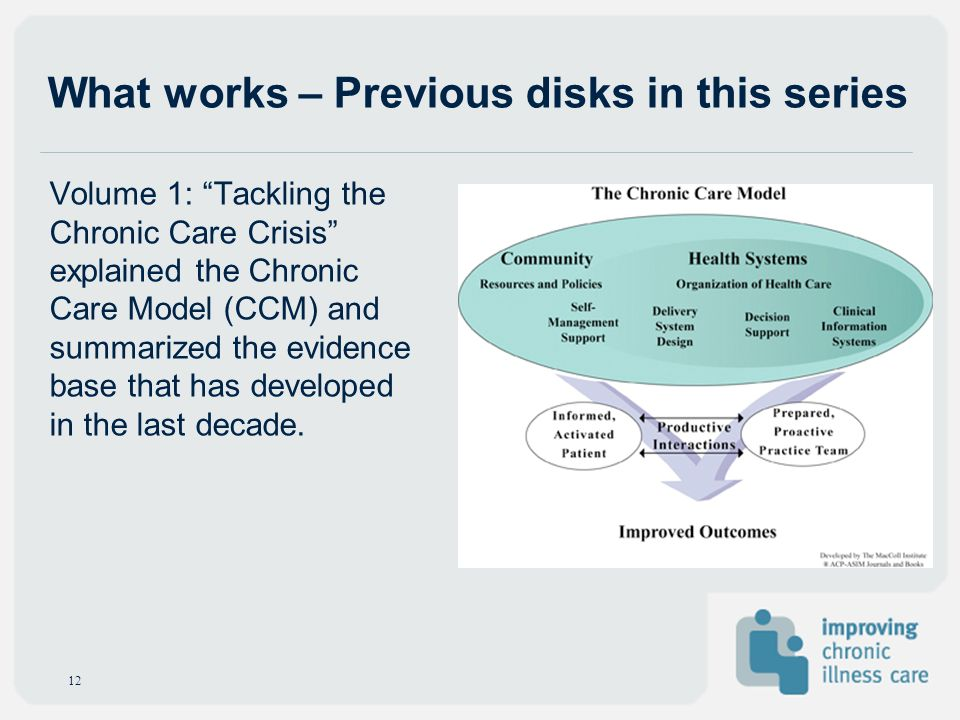 What works – Previous disks in this series Volume 1: Tackling the Chronic Care Crisis explained the Chronic Care Model (CCM) and summarized the eviden