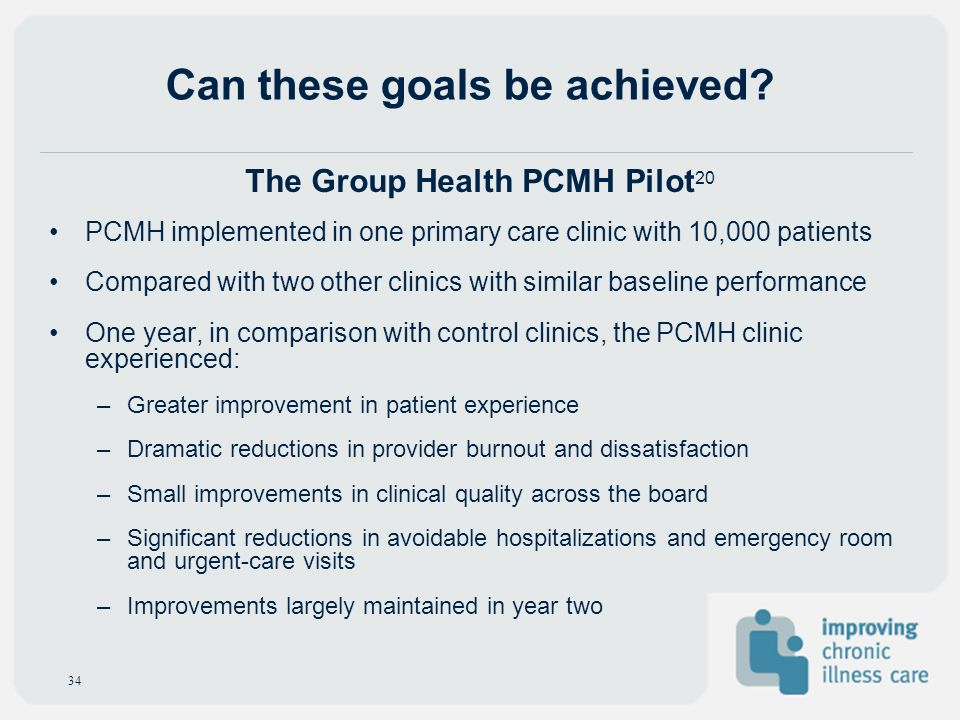 Can these goals be achieved? PCMH implemented in one primary care clinic with 10,000 patients Compared with two other clinics with similar baseline pe
