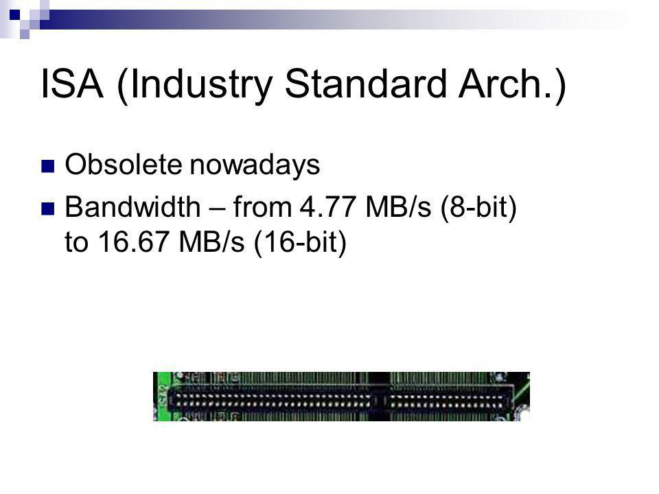 ISA (Industry Standard Arch.) Obsolete nowadays Bandwidth – from 4.77 MB/s (8-bit) to 16.67 MB/s (16-bit)