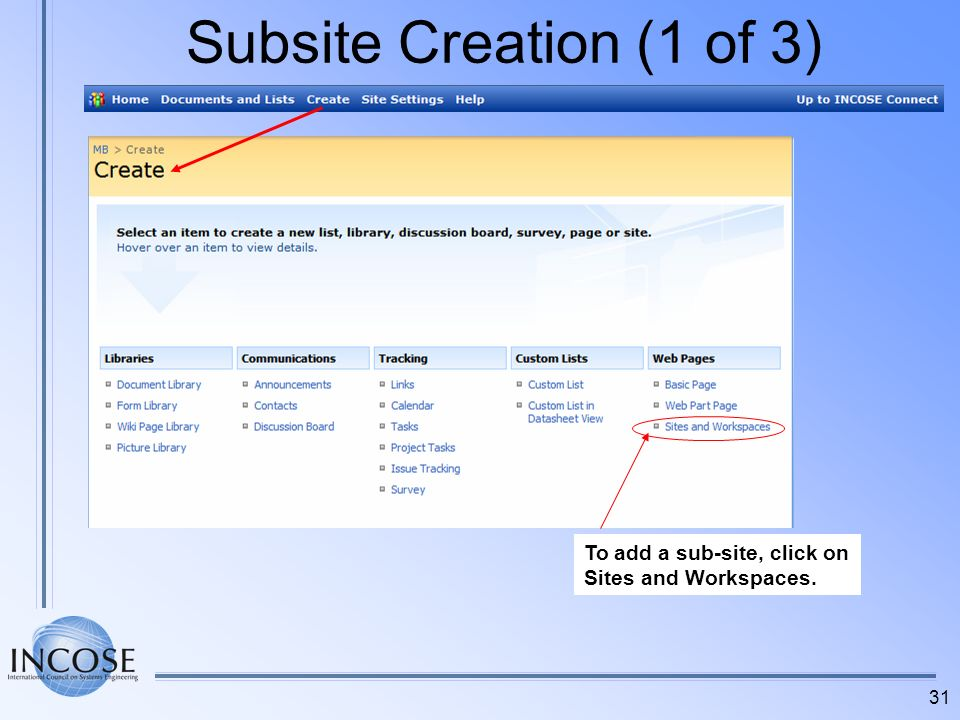 31 Subsite Creation (1 of 3) To add a sub-site, click on Sites and Workspaces.