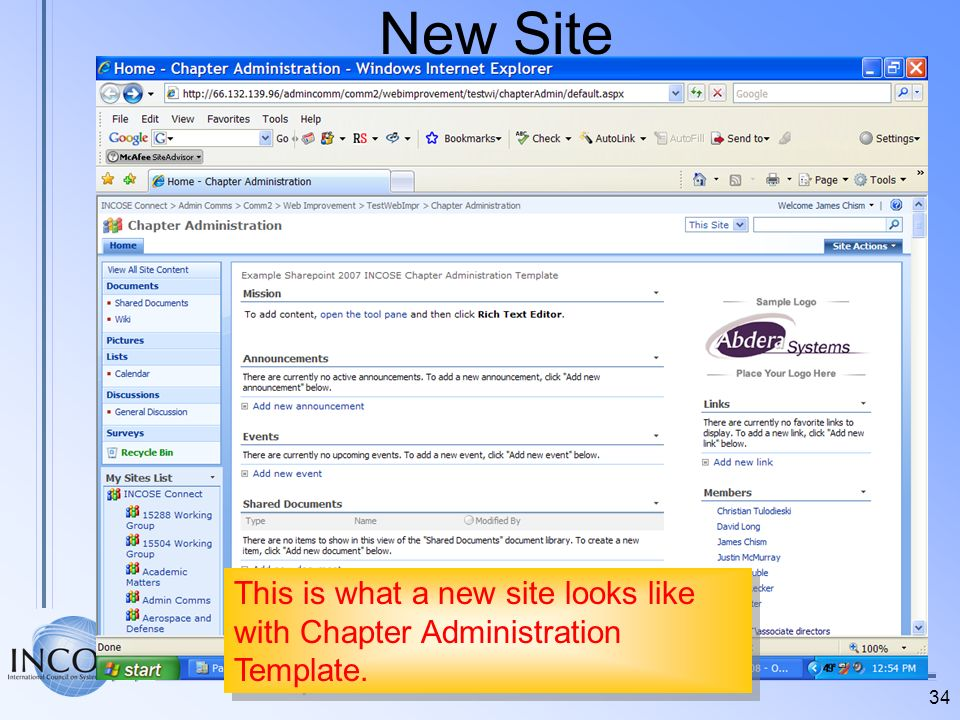 34 New Site This is what a new site looks like with Chapter Administration Template.