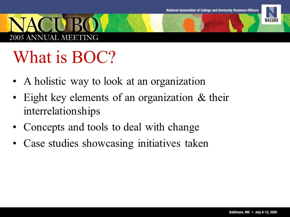 What is BOC? A holistic way to look at an organization Eight key elements of an organization & their interrelationships Concepts and tools to deal wit