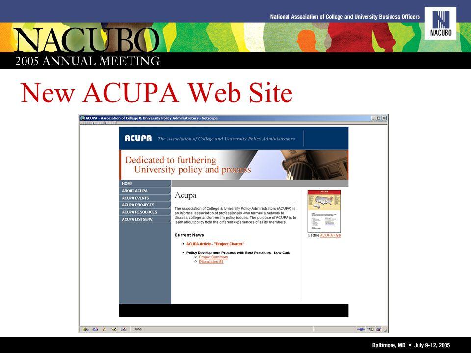 New ACUPA Web Site