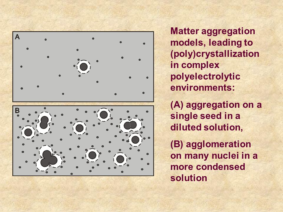 Matter aggregation models, leading to (poly)crystallization in complex polyelectrolytic environments: (A) aggregation on a single seed in a diluted solution, (B) agglomeration on many nuclei in a more condensed solution