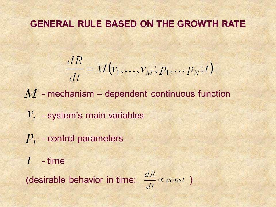 GENERAL RULE BASED ON THE GROWTH RATE - mechanism – dependent continuous function - systems main variables - control parameters - time (desirable behavior in time: )