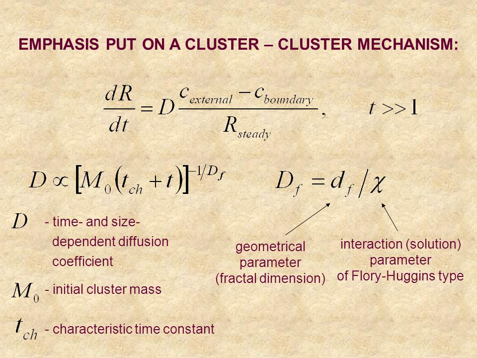 EMPHASIS PUT ON A CLUSTER – CLUSTER MECHANISM: geometrical parameter (fractal dimension) interaction (solution) parameter of Flory-Huggins type - init