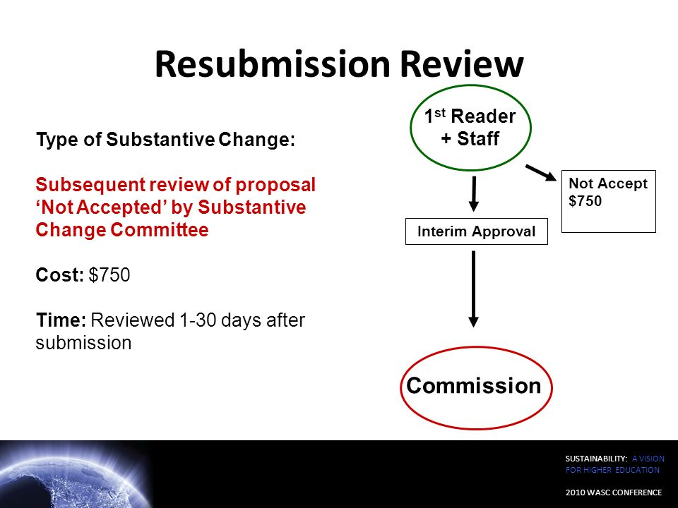 SUSTAINABILITY: A VISION FOR HIGHER EDUCATION 2010 WASC CONFERENCE Resubmission Review Type of Substantive Change: Subsequent review of proposal Not A
