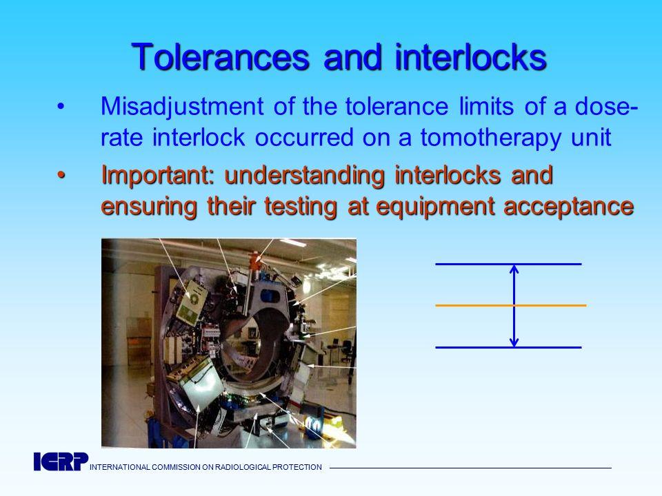 INTERNATIONAL COMMISSION ON RADIOLOGICAL PROTECTION INTERNATIONAL COMMISSION ON RADIOLOGICAL PROTECTION Tolerances and interlocks Misadjustment of the