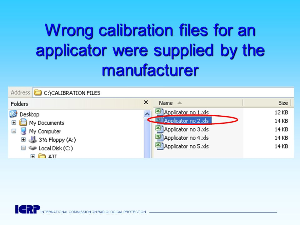 INTERNATIONAL COMMISSION ON RADIOLOGICAL PROTECTION Wrong calibration files for an applicator were supplied by the manufacturer