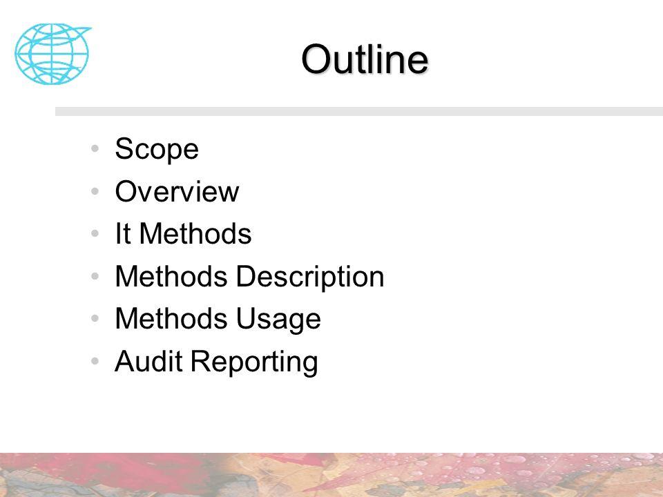 Outline Scope Overview It Methods Methods Description Methods Usage Audit Reporting