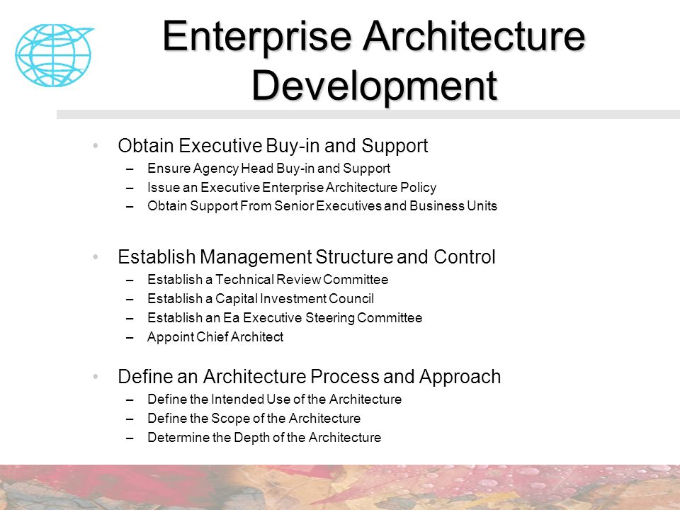 Enterprise Architecture Development Obtain Executive Buy-in and Support –Ensure Agency Head Buy-in and Support –Issue an Executive Enterprise Architec