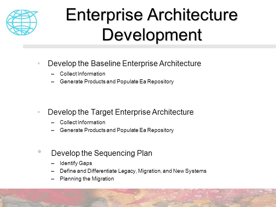 Enterprise Architecture Development Develop the Baseline Enterprise Architecture –Collect Information –Generate Products and Populate Ea Repository De