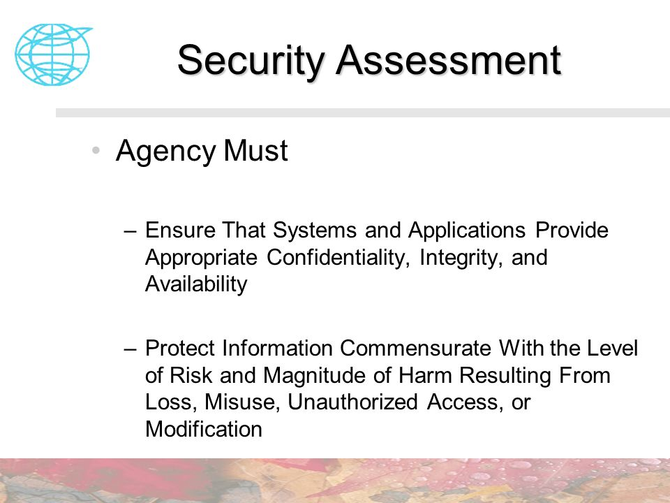 Security Assessment Agency Must –Ensure That Systems and Applications Provide Appropriate Confidentiality, Integrity, and Availability –Protect Inform
