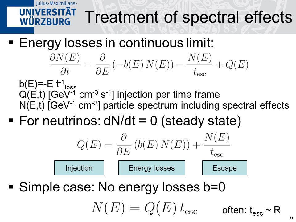 7 Energy losses and escape Depend on particle species and model Typical energy losses (= species unchanged): Synchrotron cooling Photohadronic cooling (e.g.