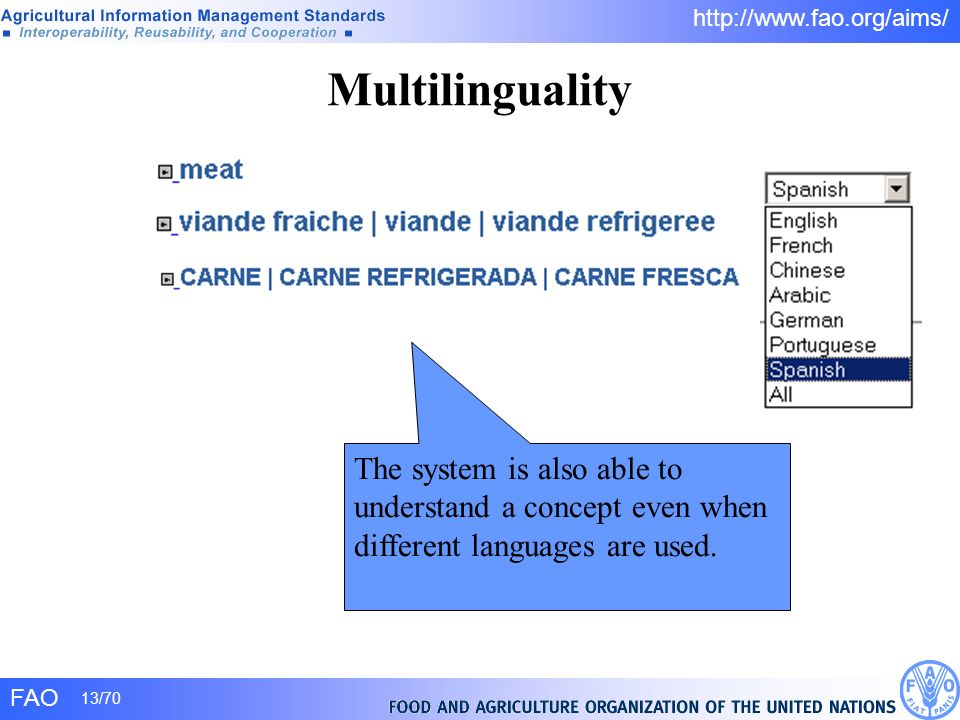 FAO 13/70 http://www.fao.org/aims/ Multilinguality The system is also able to understand a concept even when different languages are used.