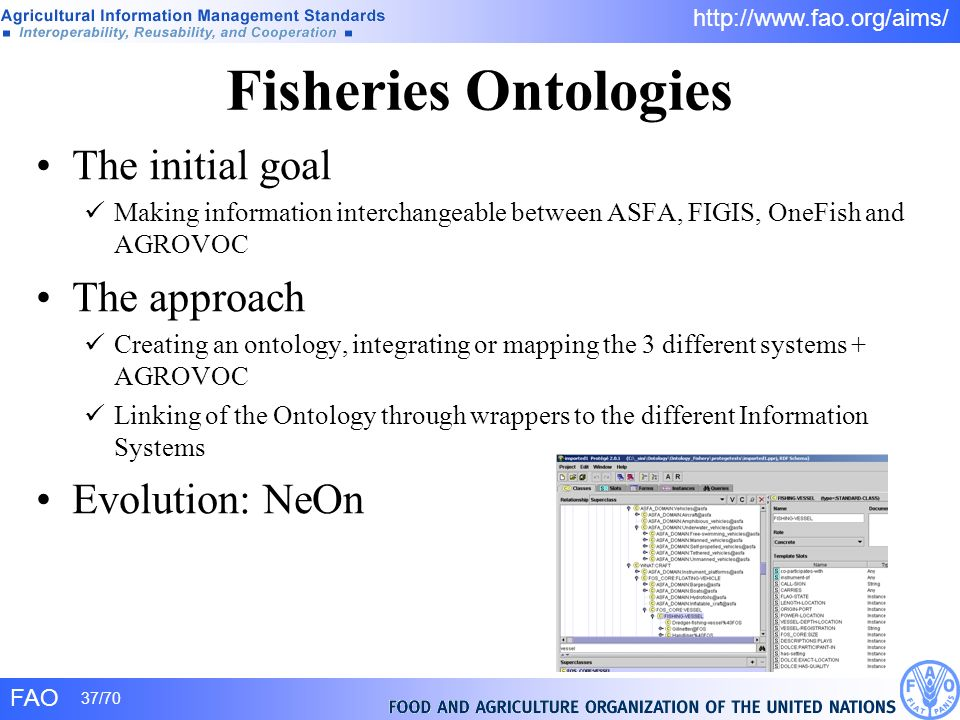 FAO 37/70 http://www.fao.org/aims/ The initial goal Making information interchangeable between ASFA, FIGIS, OneFish and AGROVOC The approach Creating