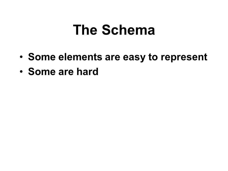 The Schema Some elements are easy to represent Some are hard