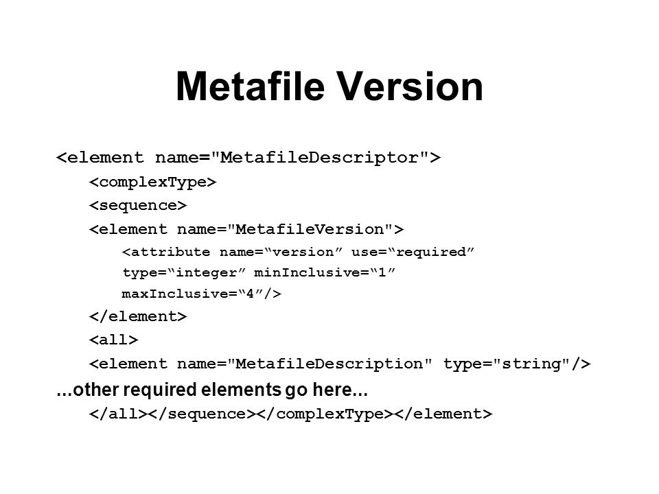 Metafile Version <attribute name=version use=required type=integer minInclusive=1 maxInclusive=4/>...other required elements go here...