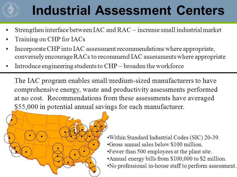 Industrial Assessment Centers Strengthen interface between IAC and RAC – increase small industrial market Training on CHP for IACs Incorporate CHP int