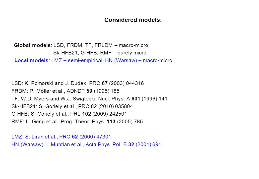 Considered models: Global models: LSD, FRDM, TF, FRLDM – macro-micro; Sk-HFB21; G-HFB, RMF – purely micro Local models: LMZ – semi-empirical, HN (Warsaw) – macro-micro LSD: K.