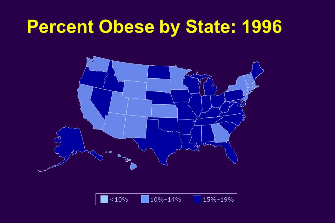 Percent Obese by State: 1996 <10% 10%–14% 15%–19%