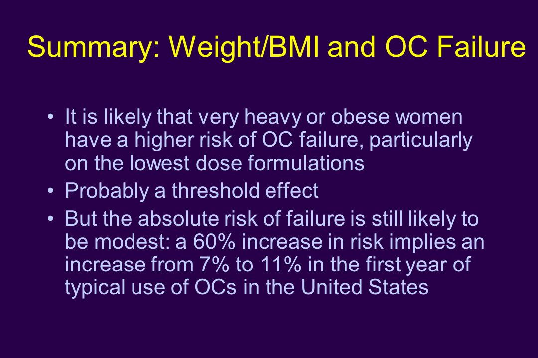 Summary: Weight/BMI and OC Failure It is likely that very heavy or obese women have a higher risk of OC failure, particularly on the lowest dose formu