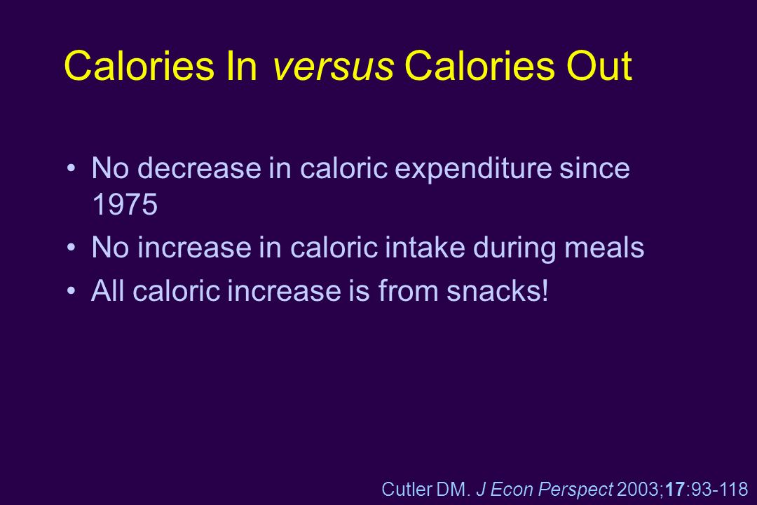 Calories In versus Calories Out No decrease in caloric expenditure since 1975 No increase in caloric intake during meals All caloric increase is from