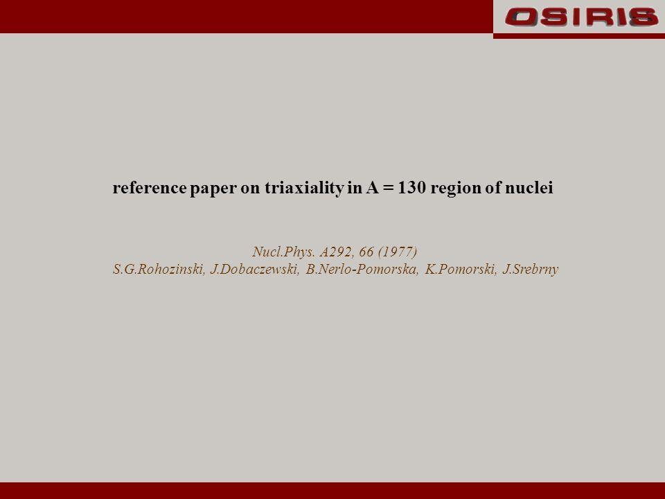Nucl.Phys. A292, 66 (1977) S.G.Rohozinski, J.Dobaczewski, B.Nerlo-Pomorska, K.Pomorski, J.Srebrny reference paper on triaxiality in A = 130 region of